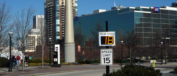 municipal traffic calming with radar speed sign